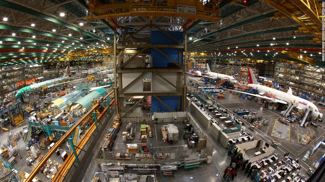 Housed in the world's largest building by volume, Boeing's aviation plant 25 miles north of Seattle produces 747s, 777s and 787s, and is the only commercial jet manufacturing center open to the public.