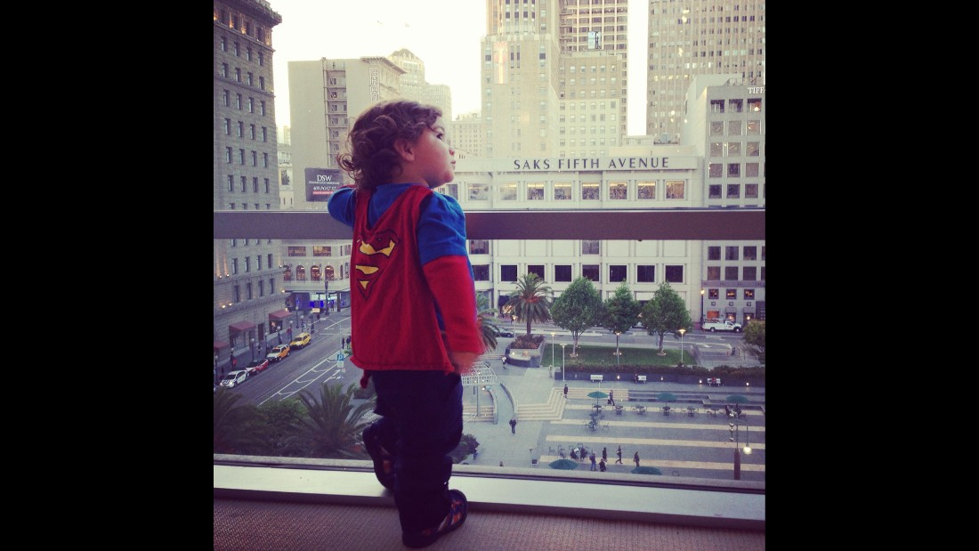 "Keren Espinoza shot <a href=""http://ireport.cnn.com/docs/DOC-978667"">this photo</a> of her then 19-month-old son, Jaden, standing on the seventh floor of Macy's in San Francisco last year. The Superman shirt and cape is one of her favorite outfits to put on him. ""I love to see him run and swing at the park; he looks like his cape really makes him fly."""
