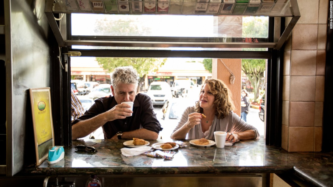 Anthony Bourdain starts the day in west Miami with chef Michelle Bernstein at Islas Canarias Restaurant.