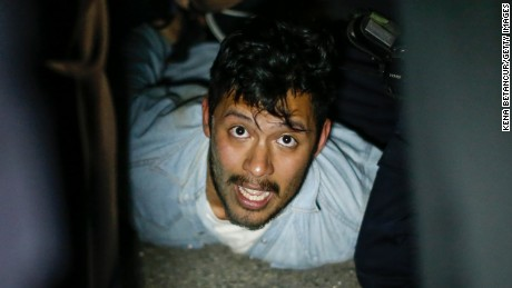 A man is arrested during the protests in New York on April 29.
