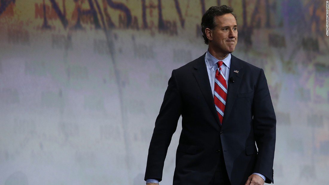 Santorum appears at the NRA-ILA Leadership Forum on April 10 at the NRA annual meeting in Nashville, Tennessee.