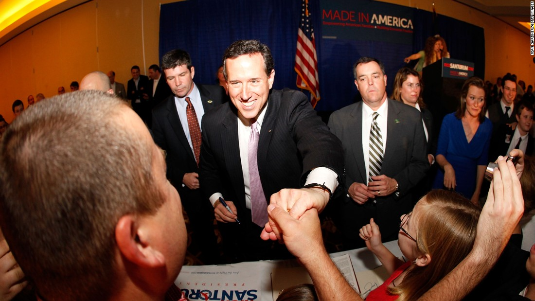 Santorum addresses supporters  in Lafayette, Louisiana, after winning the Alabama and Mississippi primaries on March 13, 2012.