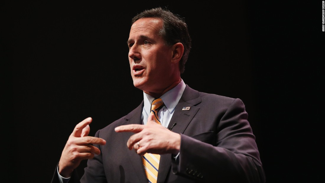 Former Sen. Rick Santorum of Pennsylvania speaks at the Point of Grace Church for the Iowa Faith and Freedom Coalition 2015 Spring Kickoff on April 25 in Waukee, Iowa.