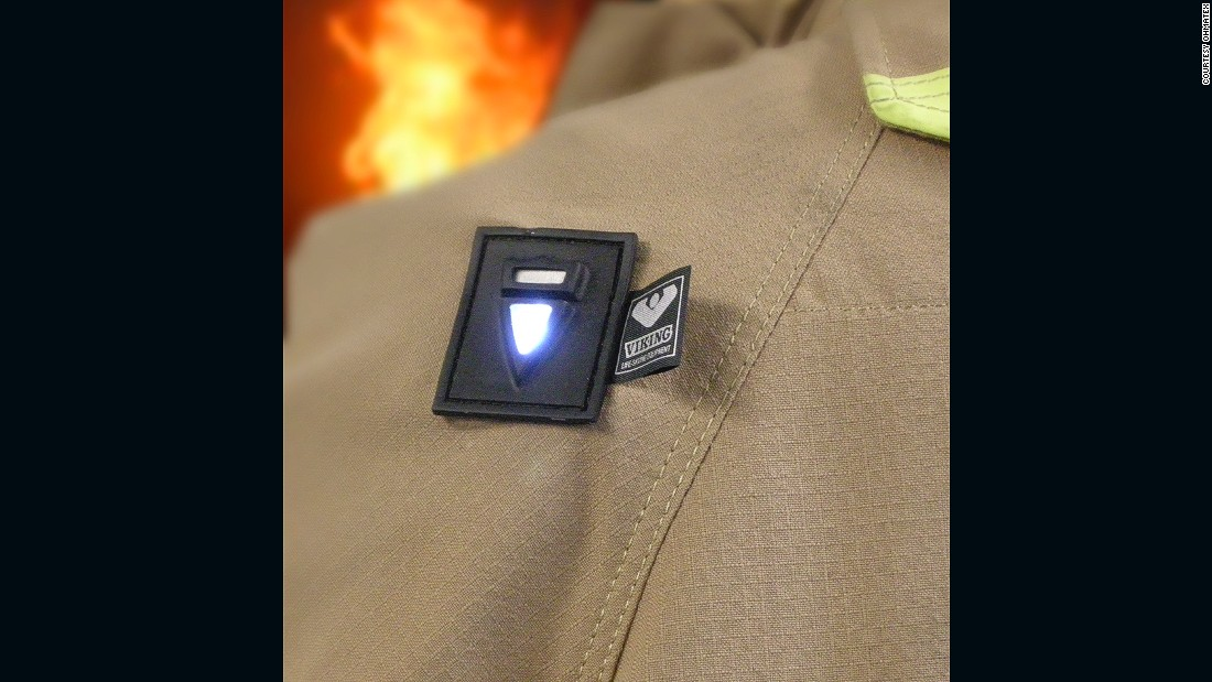 Wearable technology has also been developed for use by firefighters to prevent heat them overheating. Three signals are collected to monitor the temperature outside of a fire suit and heat levels close to the skin, with alarms signaling when to leave. Pictured, the shoulder sensor placed on a firefighter suit, designed in consultation with Ohmatex.