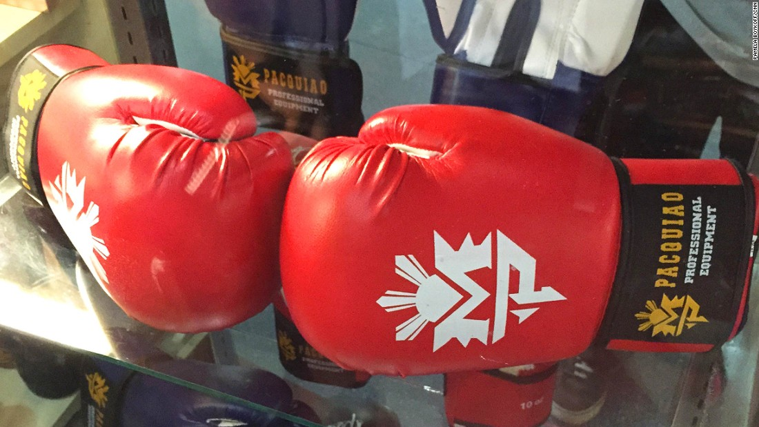 "Official boxing gloves are the best-selling item at the Official ""Team Pacquiao"" store."