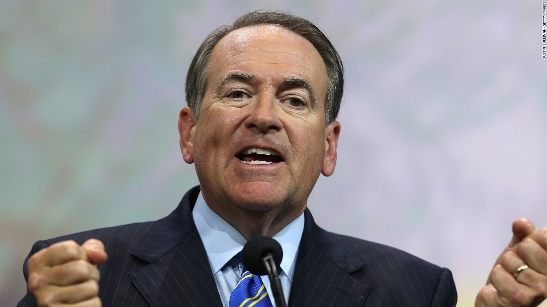 Former Arkansas Gov. Mike Huckabee speaks during the NRA-ILA Leadership Forum in Nashville, Tennessee, in April 2015.