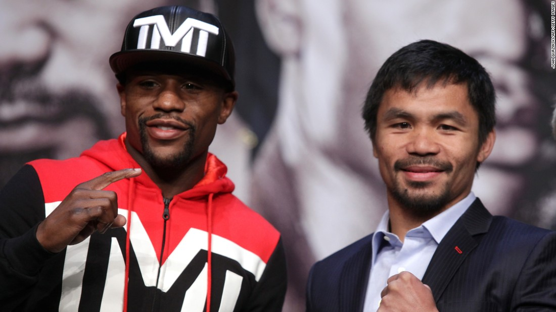 "MAY 1 --  LAS VEGAS: It's one day to go before the hotly anticipated fight between Floyd ""Money"" Mayweather and Filipino legend Manny Pacquiao. The pair will go toe to toe to be crowned undisputed world champion at Las Vegas's MGM Grand on Saturday. The winner will walk away with a share of an estimated $300,000 purse."