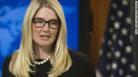 Marie Harf holds the daily press briefing at the State Department in Washington on August 20, 2014.