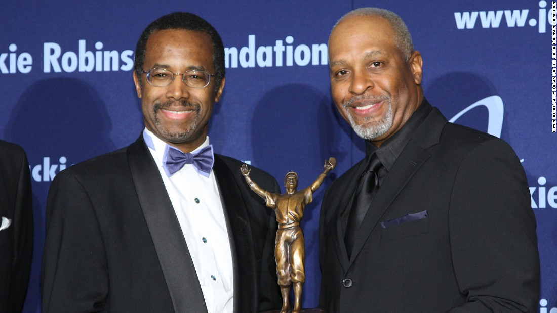 Honoree and director of pediatric neurosurgery at Johns Hopkins University, Carson poses with actor James Pickens Jr. at the Jackie Robinson Foundation Annual Awards Dinner on March 16, 2009, in New York City.