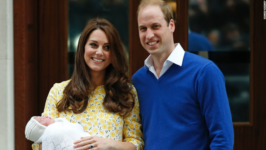 William and Catherine are photographed leaving the hospital after Charlotte's birth.