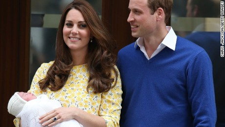 Catherine, Duchess of Cambridge and Prince William, Duke of Cambridge depart the Lindo Wing with their newborn daughter at St Mary's Hospital on May 2, 2015 in London, England.