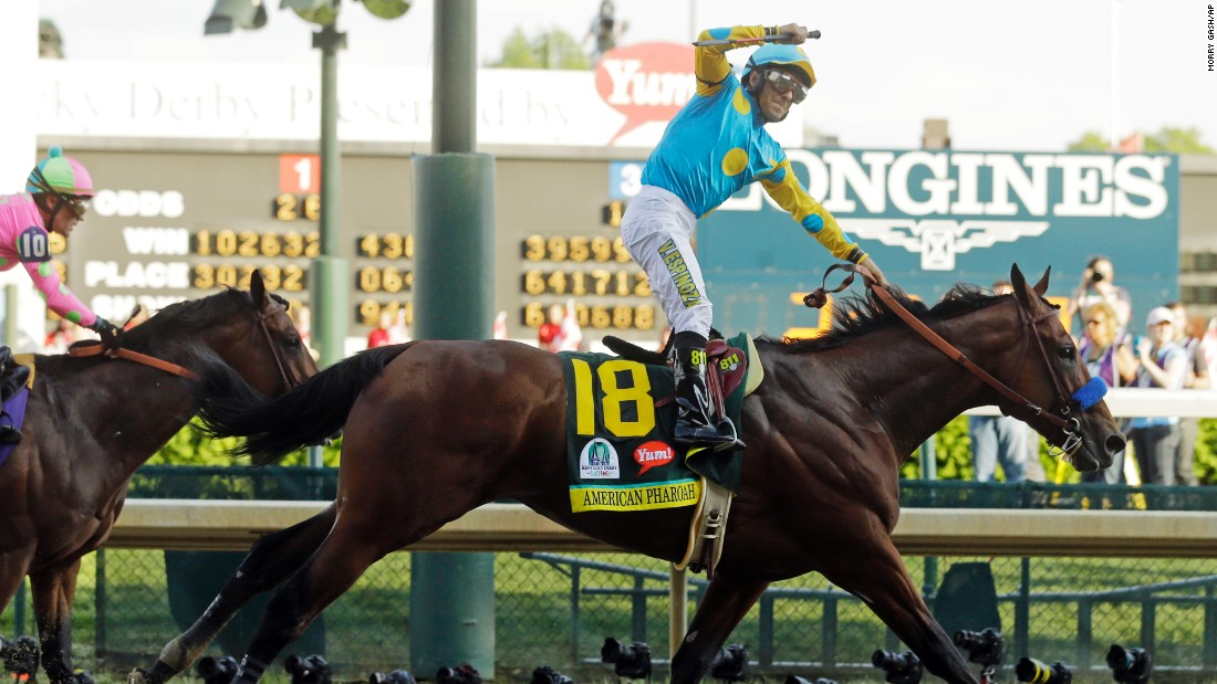 Favorite American Pharoah claims victory in the 141st running of the Kentucky Derby at Churchill Downs on Saturday, May 2.