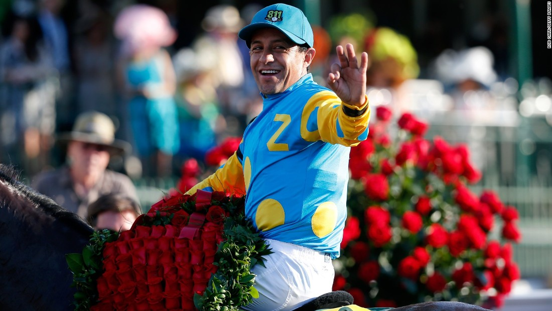 "Jockey Victor Espinoza won the famous ""Run for the Roses"" for the third time."