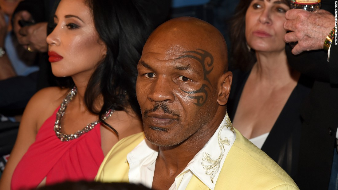 Mike Tyson at ringside during the Floyd Mayweather and Manny Pacquiao bout.