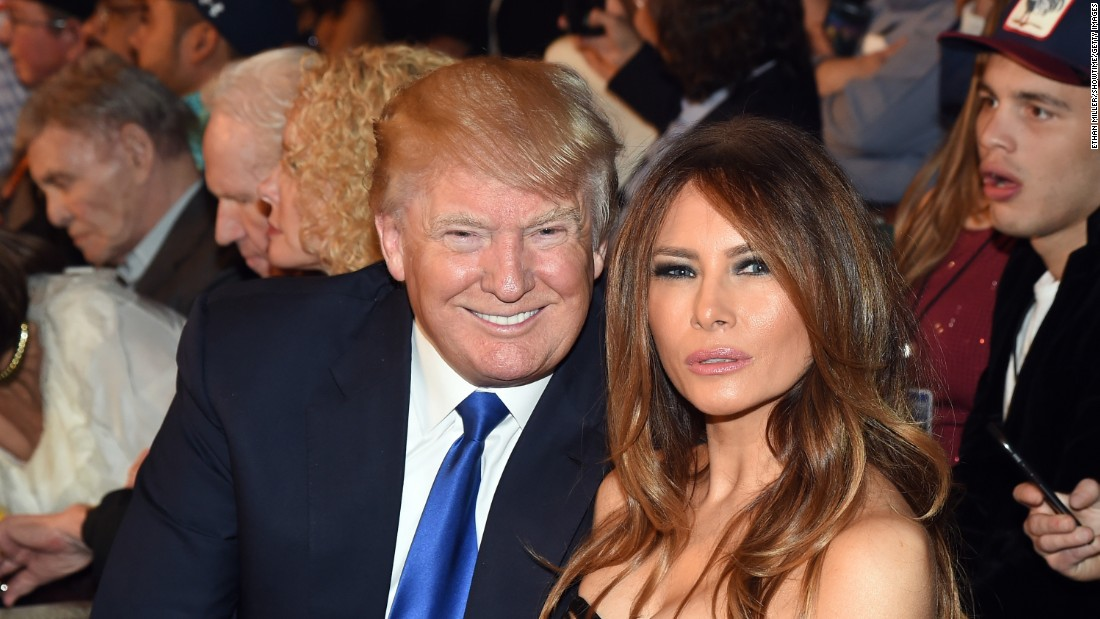 Donald Trump and model Melania Trump at ringside.