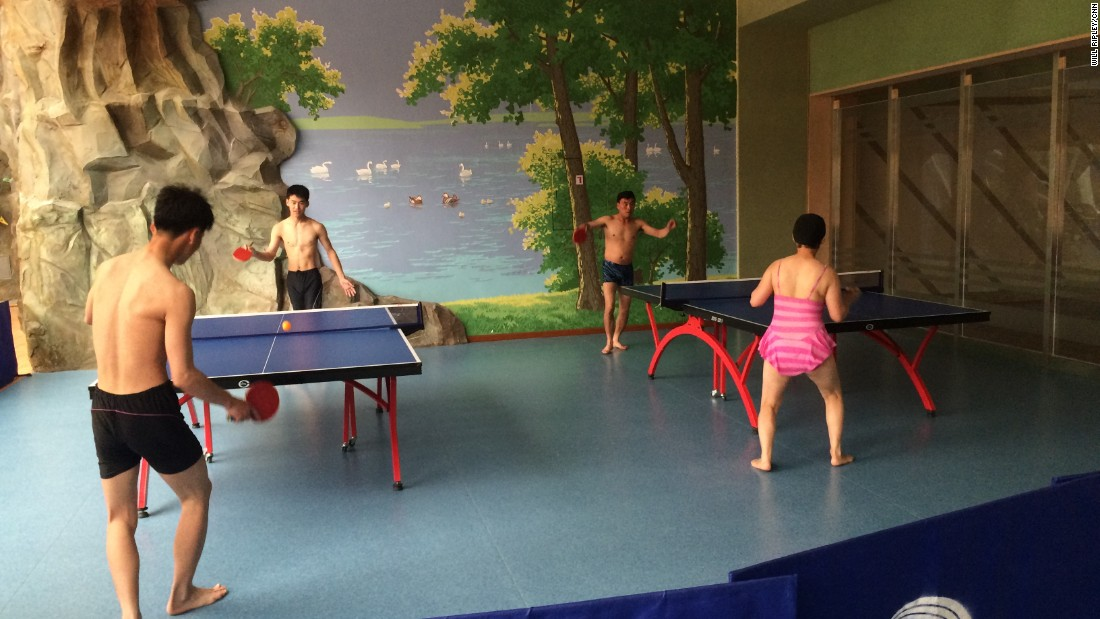 Pyongyang residents play table tennis at a water park in Pyongyang.