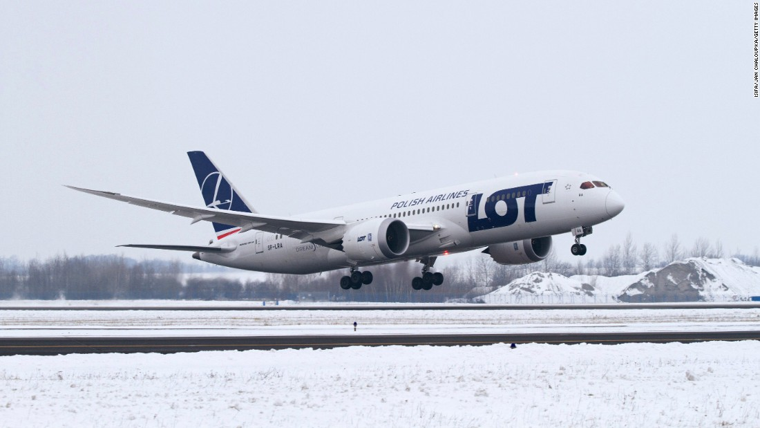LOT Polish Airlines' first Dreamliner arrives for the first time at Vaclav Havel Airport Prague in the Czech Republic on December 14, 2012.
