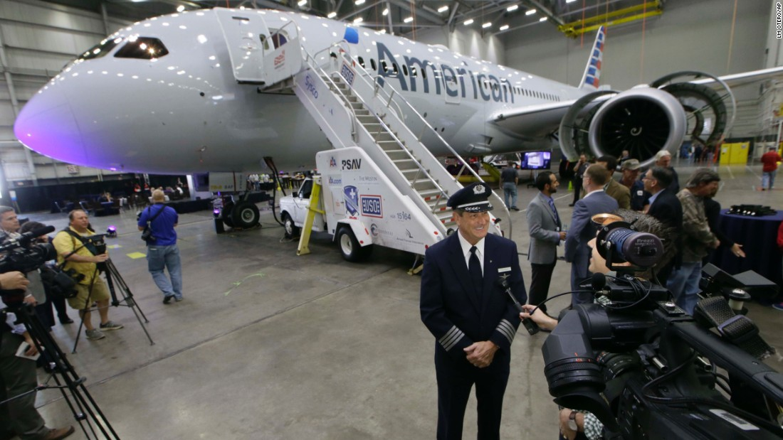 American Airlines becomes the second U.S. airline to fly the Boeing 787 Dreamliner on May 7. Captain Mike Riley is shown giving an interview near American's first Dreamliner at the airline's maintenance hangar at Dallas/Fort Worth International Airport on April 29.