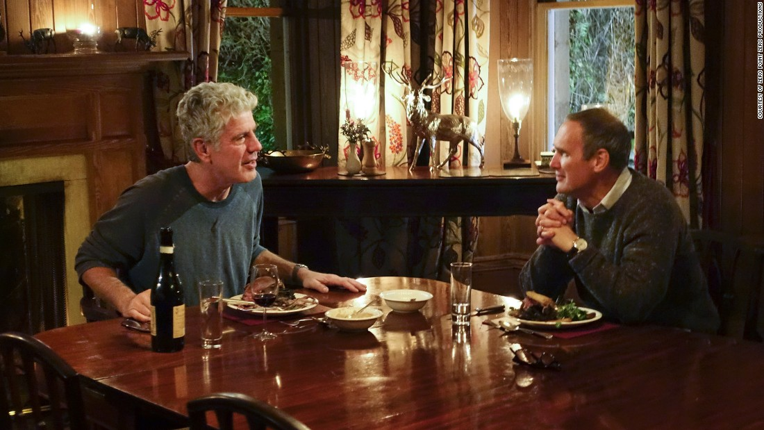 Food critic A.A. Gill and Anthony Bourdain enjoy roast grouse (a funky game bird) at Letterewe Estate in the Scottish Highlands.