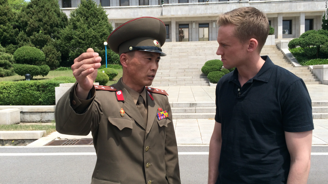 "Junior Lt. Colonel Nam Dong Ho speaks to CNN correspondent Will Ripley. In May 2015, Ripley and his team were <a href=""http://www.cnn.com/2015/05/02/asia/cnn-inside-north-korea/"">granted rare access to the DMZ in North Korea.</a> An estimated three quarters of of North Korea's standing army of more than one million is based near the heavily fortified border, which has been a flashpoint for violence at times."