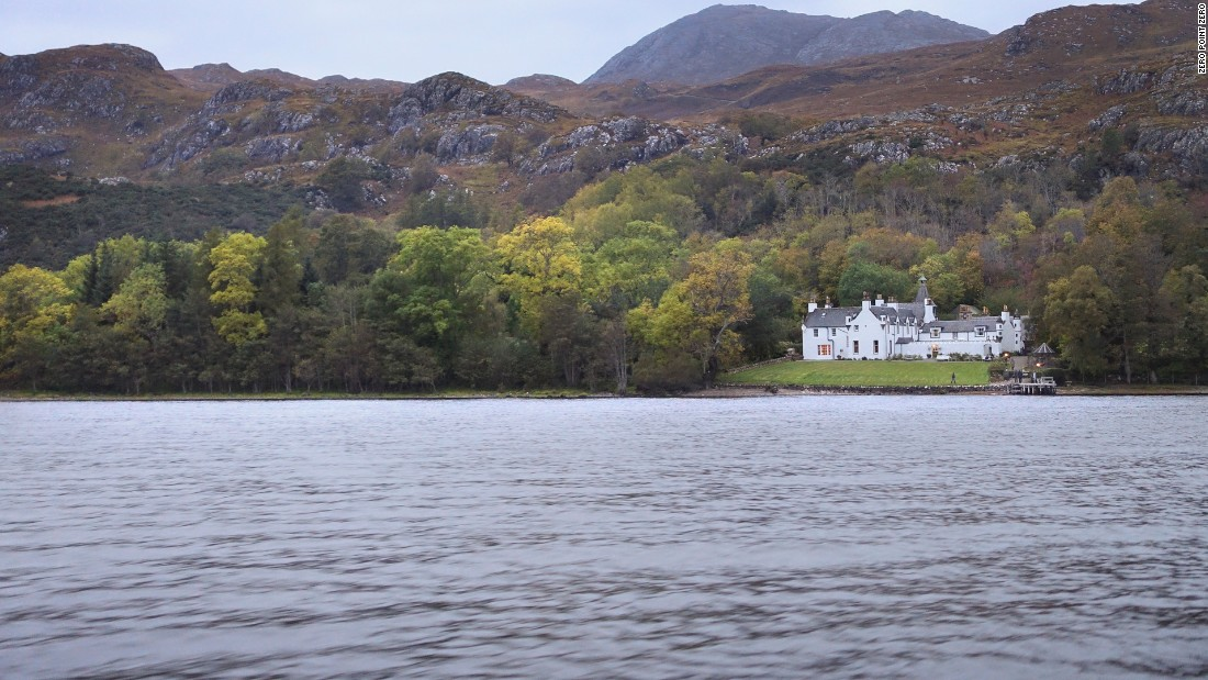 The lodge on the Letterewe Estate is only accessible by boat across Loch Maree.