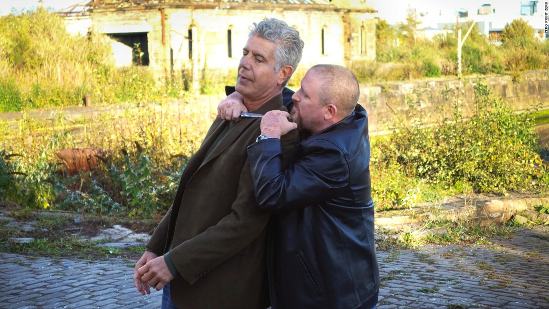 "Knife violence is common in Scotland, so Bourdain gets a lesson at the docks in warding off an attack by <a href=""http://www.ukknifedefence.com/"" target=""_blank"">knife defense instructor Mark Davies</a>."
