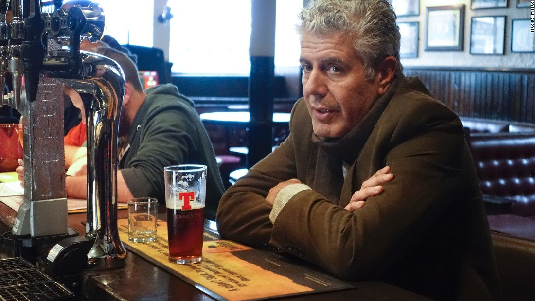 Bourdain heads to Glasgow, Scotland's biggest city, for a pint at Old College Bar.