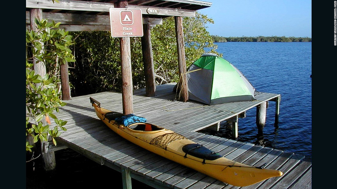 Throughout the park's mangrove estuary and the Florida Bay are 17 chickee camping sites. Chickees are raised and covered platforms. They have a toilet and not much else.