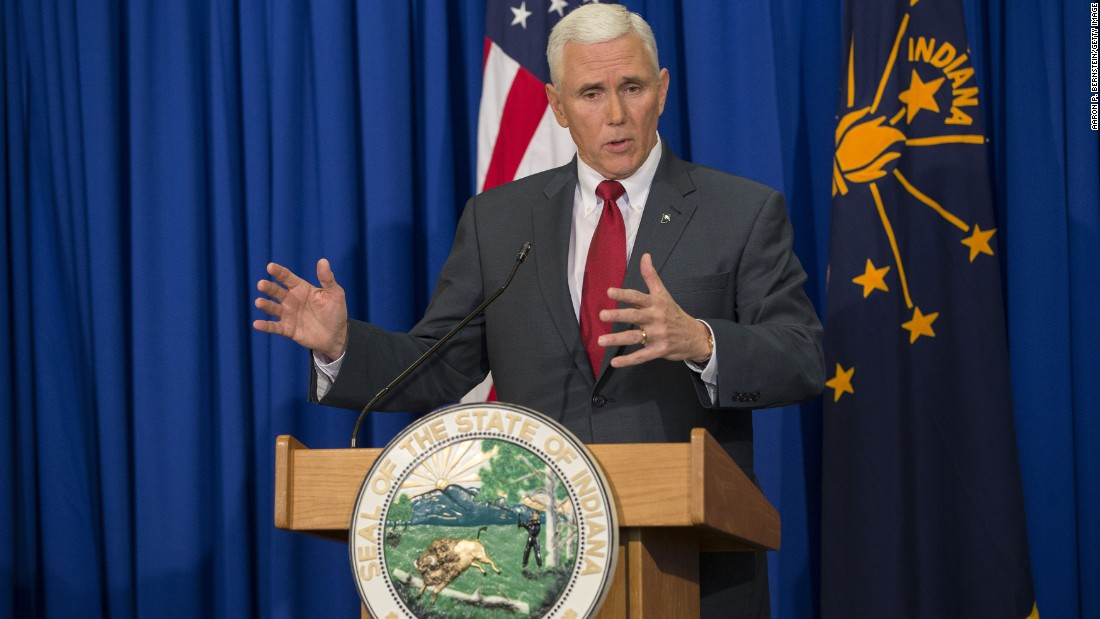 Indiana Gov. Mike Pence speaks about his state's controversial Religious Freedom Restoration Act during a press conference on March 31 at the Indiana State Library in Indianapolis.