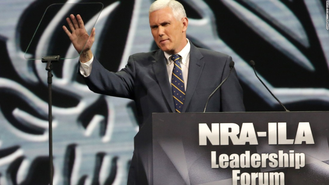 Pence speaks during the National Rifle Association's annual meeting Leadership Forum on April 25, 2014, in Indianapolis.
