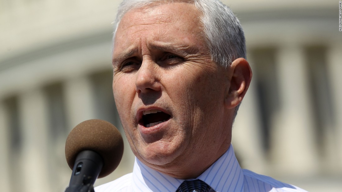 Pence speaks during a rally on Capitol Hill on April 6, 2011, held by Americans for Prosperity in support of spending cuts.
