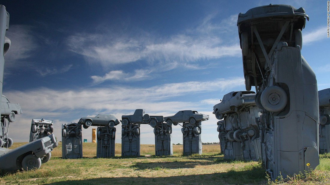 Cars in the shape of Stonehenge = Carhenge. Alliance, Nebraska's motor monoliths are arguably more impressive than the real Stonehenge, although they may get fewer miles to the gallon.