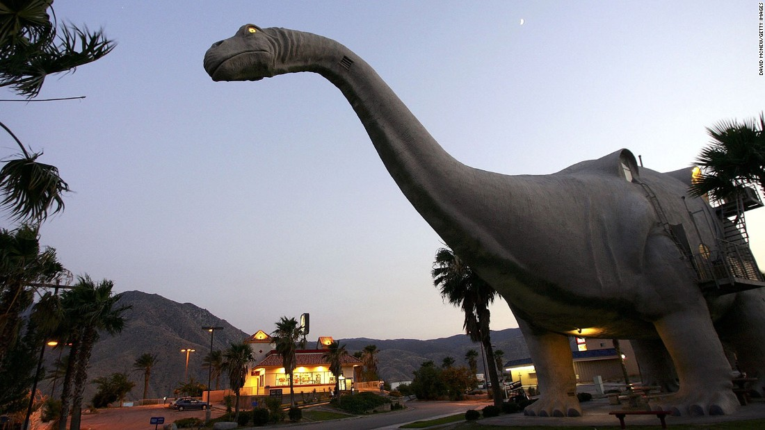 You've got to stretch your legs at some point. Why not do it in the shadow of a gigantic dinosaur in Cabazon, California?