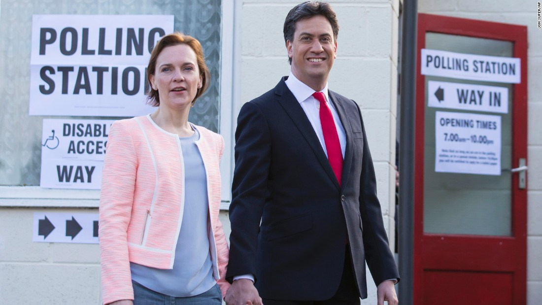 Labour Party leader Ed Miliband and his wife, Justine, leave a polling station in Doncaster, South Yorkshire, England.