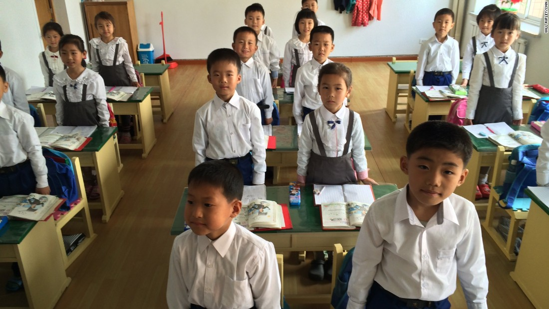 First graders in a Pyongyang classroom are orderly yet energetic, often standing and giving spirited answers to their teacher's questions, May 7, 2015. Photo by CNN's Will Ripley.