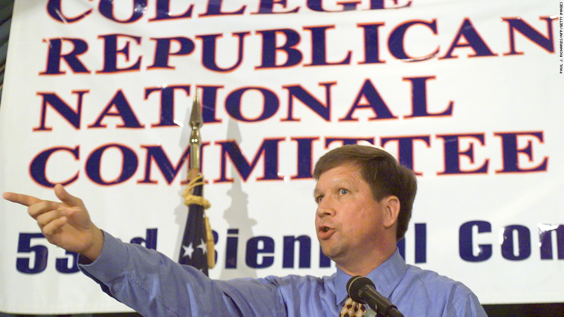 U.S. Rep. Kasich delivers a speech in the Watergate complex in Washington on July 9, 1999, during the College Republican National Committee 53rd Biennial Convention. Other speakers included Republican 2000 presidential hopefuls such as Gary Bauer and Elizabeth Dole.