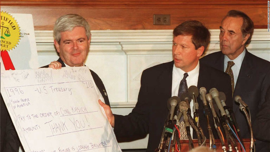 Kasich, center, shows a thank you note in the form of a check to Speaker of the House Newt Gingrich, left, and Senate Majority Leader Robert Dole (right) on November 17, 1995, in Washington. They were soon engaged in bruising battles with President Bill Clinton over the federal budget.