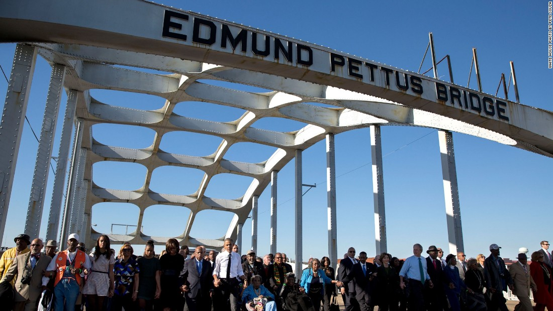 Marching at the 50th anniversary of Bloody Sunday in Selma, Alabama, on March 7, 2015.