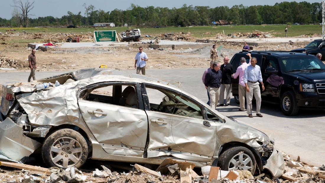 Touring tornado damage in Vilonia, Arkansas, on May 7, 2014.