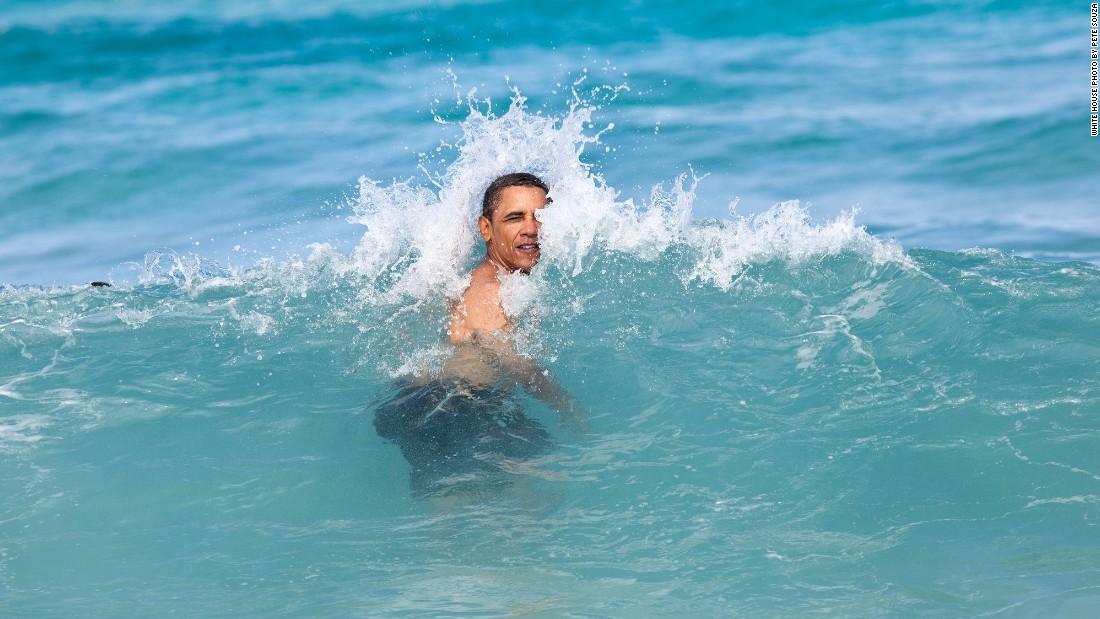 Swimming at Pyramid Rock Beach in Kaneohe Bay, Oahu, Hawaii, on January 1, 2012.