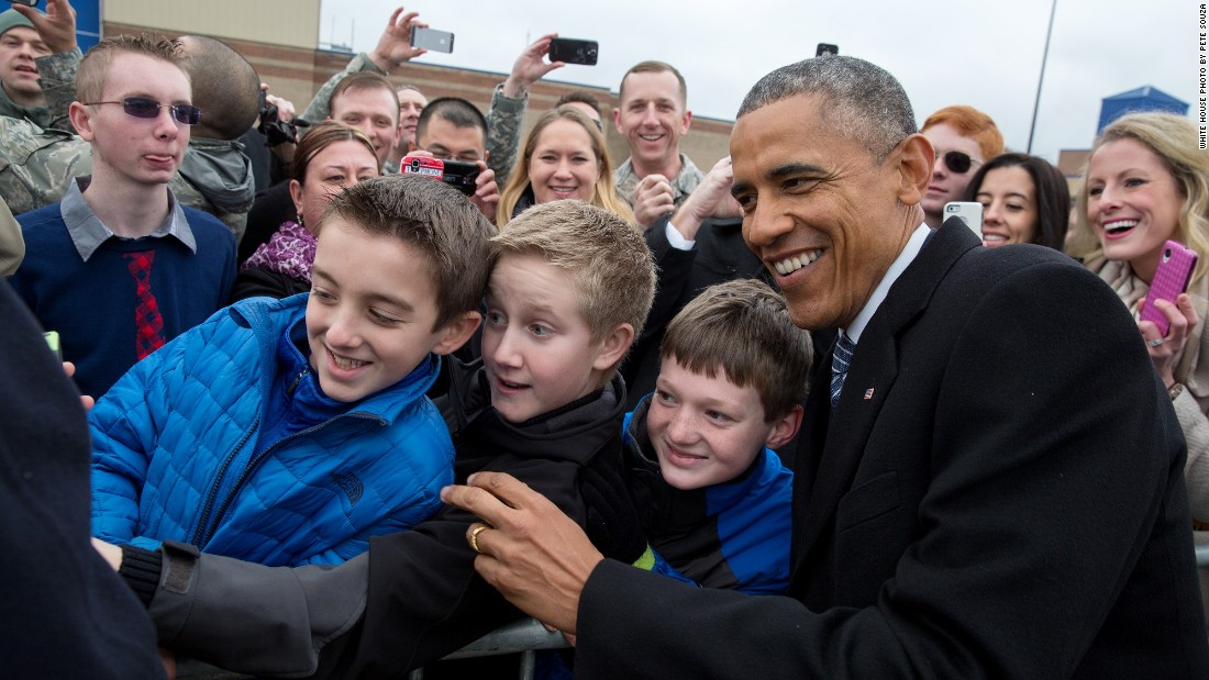 Posing for a photo with kids at Boise Airport in Idaho on January 21, 2015.