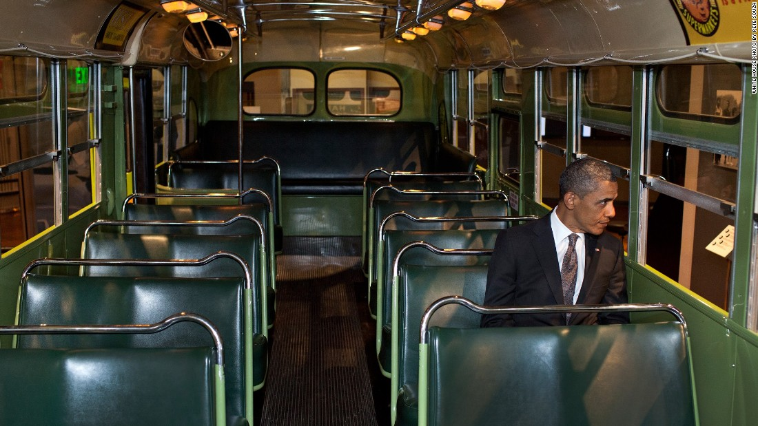 Sitting on the famed Rosa Parks bus at the Henry Ford Museum in Dearborn, Michigan, on April 18, 2012.