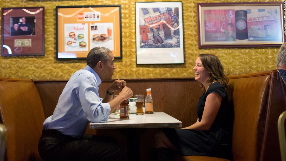 Talking with letter writer Rebekah Erler at Matt's Bar in Minneapolis, Minnesota, on June 26, 2014.
