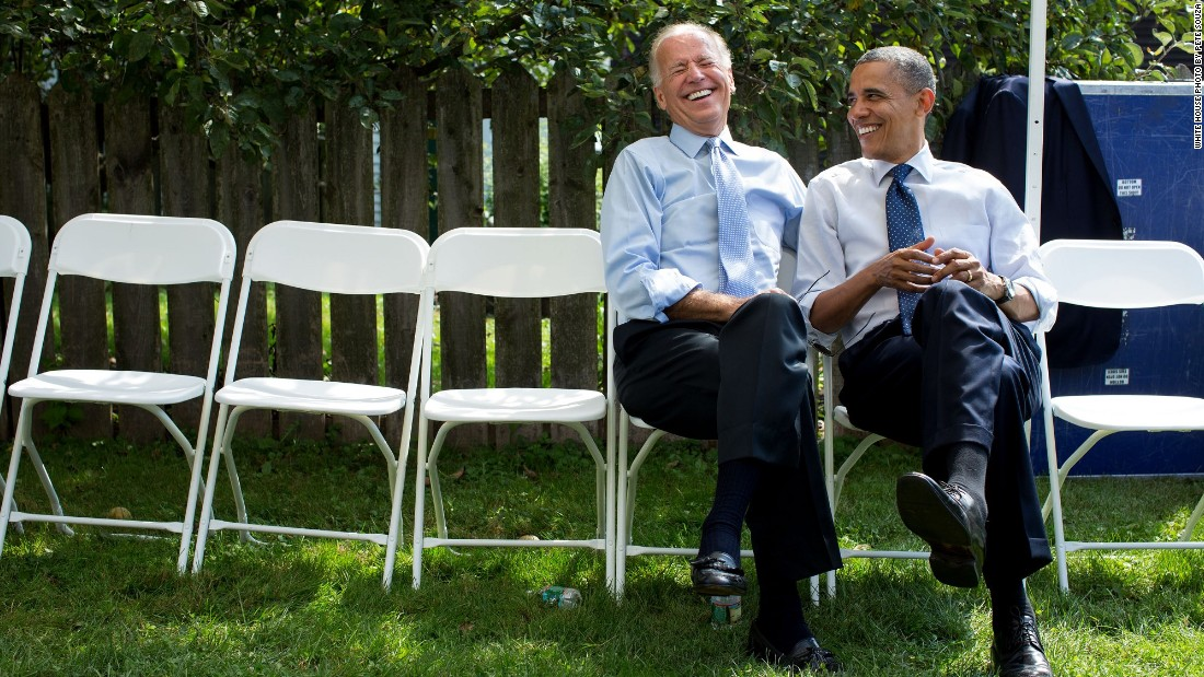 Joking with Vice President Joe Biden before a campaign rally in Portsmouth, New Hampshire, on September 7, 2012.