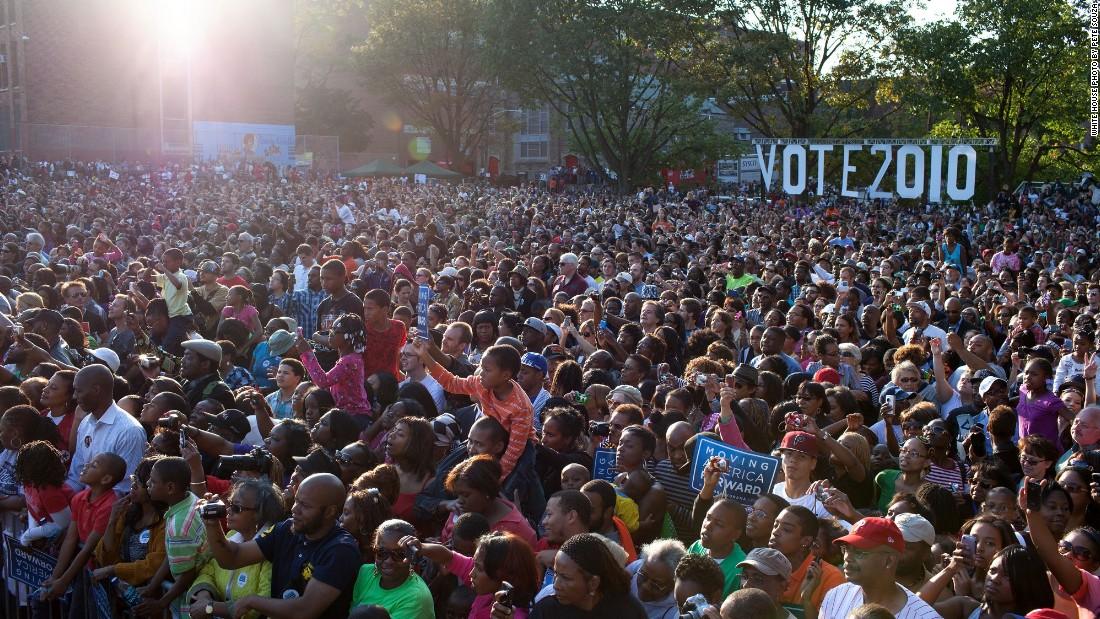 Addressing a rally in Philadelphia, Pennsylvania, on October 10, 2010.