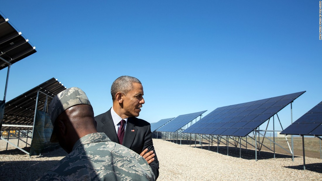 Viewing solar panels at Hill Air Force Base, north of Salt Lake City, in Utah on April 3, 2015.