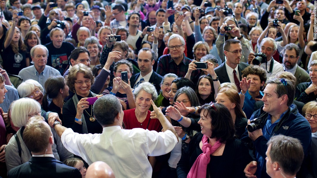 Greeting the crowd in Burlington, Vermont, on March 30, 2012.
