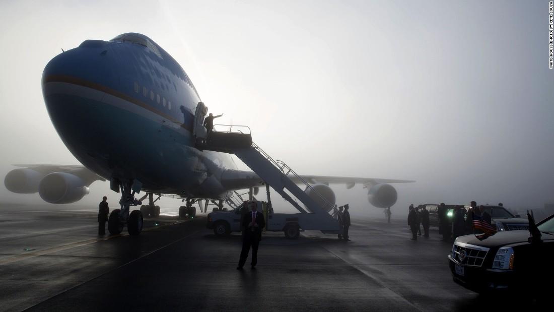 Departing Seattle, Washington, on a foggy morning on November 25, 2013.
