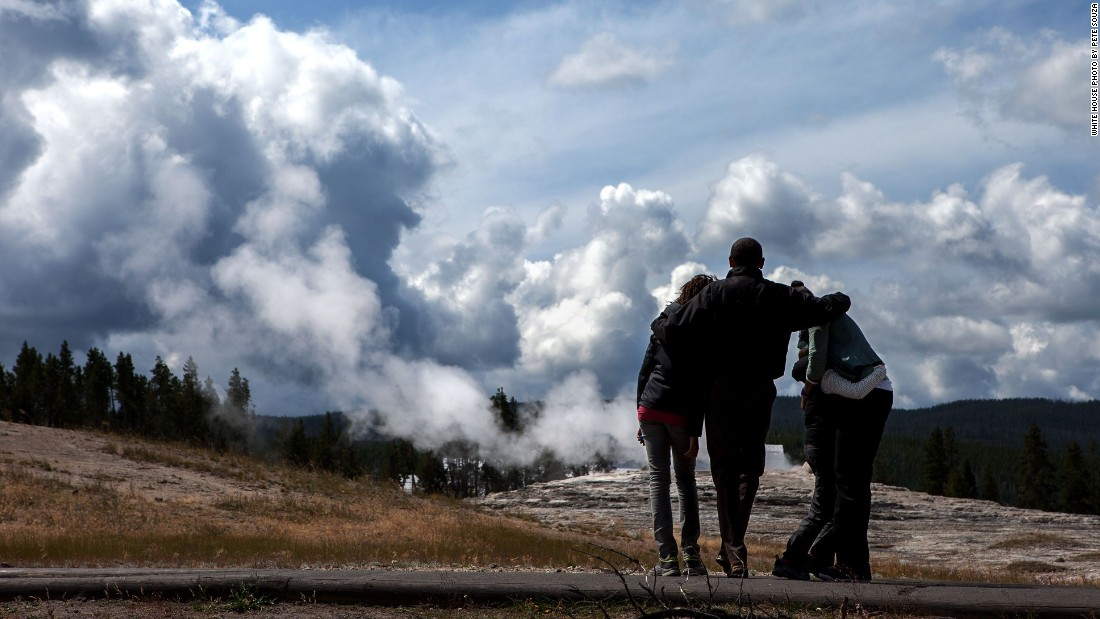 Watching geysers with the family at Yellowstone National Park in Wyoming on August 15, 2009.