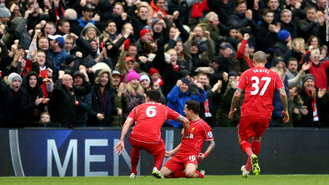 Coutinho celebrated in front of the Kop after his stunning striker. He has quickly become a fan favorite at Liverpool thanks to some dazzling displays.